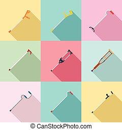 crutches, stile, appartamento, set, sostegno, icone, lesione, cura