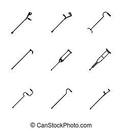 crutches, stile, icone, set, sostegno, semplice, lesione, cura