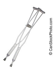 crutches - A pair of aluminum crutches isolated on white