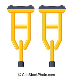 Crutches Vectot Icon - Axillary crutches vectot icon in flat...