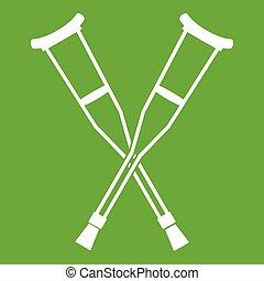 crutches, verde, icona