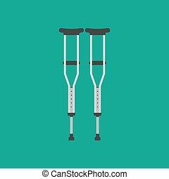 crutches, vettore, illustrazione