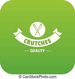 crutches, vettore, qualità, verde, icona