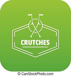 crutches, vettore, verde, icona