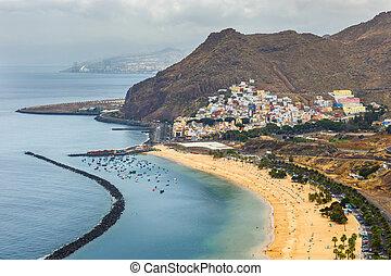 cruz, aérien, îles canaries, santa, teresitas, plage,...