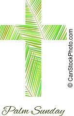 cruz, aislado, fondo., domingo, palma, blanco
