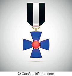 cruz azul, ilustração, de, um, militar, medalha