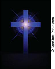 cruz azul, vector, plano de fondo