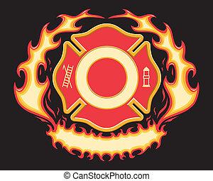 cruz, bombero, bandera, llameante
