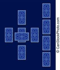 cruz céltica, espalda, tarot, spread., lado, tarjeta