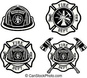 cruz, casco, departamento, diseños, fuego
