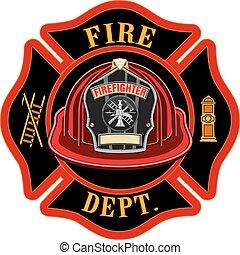 cruz, casco, departamento, rojo, fuego
