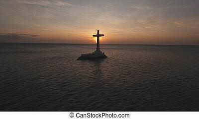 cruz católica, en, el, sea.