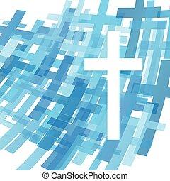 cruz, claro, azul, resumen, cristianismo, religión, plano de fondo, vector, ilustración