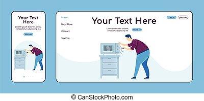 cruz, color de casa, página, plataforma, aparato, batería de cocina, vector, reparaciones, aterrizaje, roto, reparación, página principal, plano, uno, pc, página web, móvil, sitio web, layout., diseño, ui., adaptable, template., reparador