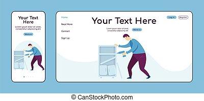 cruz, color de casa, página, plataforma, handyperson, muebles, vector, reparaciones, aterrizaje, el montar, taladro, página principal, plano, página web, uno, pc, móvil, sitio web, layout., diseño, ui., adaptable, template., reparador