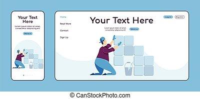 cruz, color de casa, página, plataforma, tiler, vector, reparaciones, aterrizaje, profesional, colocar, página principal, plano, página web, pc, uno, móvil, azulejos, sitio web, layout., diseño, ui., adaptable, template., reparador