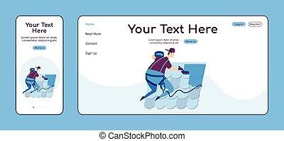 cruz, color de casa, servicio, página, plataforma, techo, handyperson, vector, reparaciones, aterrizaje, reparación, página principal, plano, uno, pc, página web, móvil, sitio web, layout., diseño, ui., adaptable, template., reparador