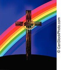 cruz, con, colorido, arco irirs