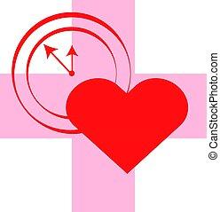 cruz, con, corazón, y, reloj, en, rojo, fondo., vector, illustartion