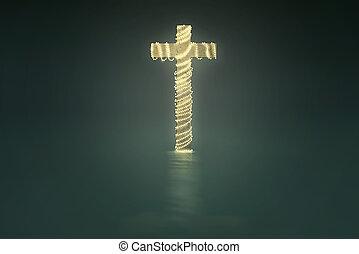 cruz, con, luces de navidad, decoración