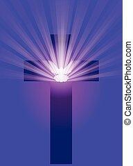 cruz, con, paloma, y, rayos ligeros
