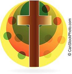 cruz, con, sol, logotipo