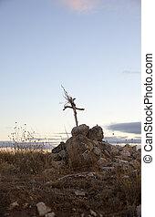 cruz, construido, con, ramas