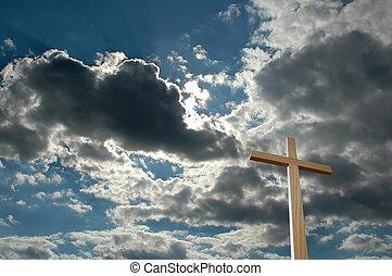 cruz, contra, brillante, nubes