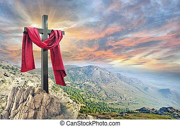 cruz, contra, el, cielo dramático