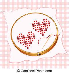 cruz, corazones, puntada, bordado, dos