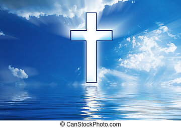 cruz, cuelga, en, cielo, encima, agua