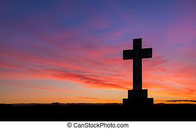 cruz, de, amanecer, cielo