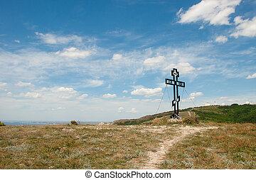cruz, de, en, el, colina