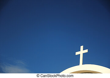 cruz de la iglesia, contra, el, cielo