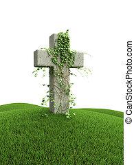 cruz, el, verde, herboso, colina