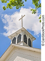 cruz, en, campanario