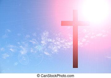 cruz, en, cielo azul