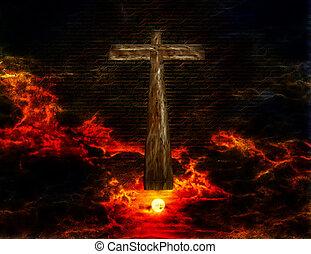 cruz, en, cielo