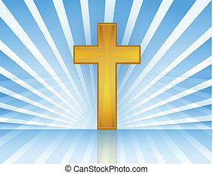 cruz, en, cielo, /, vector