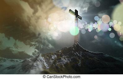 cruz, en, el, colina