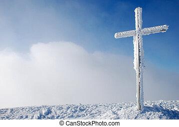 cruz, en, el, pico de la montaña