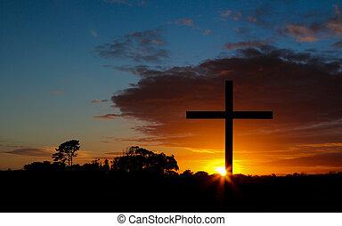 cruz, en, salida del sol