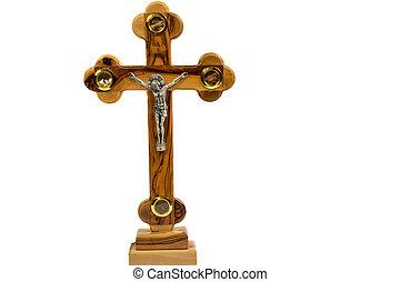 cruz, en, un, blanco