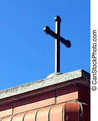 cruz, en, un, cielo azul