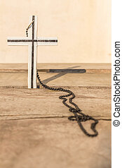 cruz, en, un, de madera
