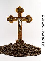 cruz, en, un, fondo blanco
