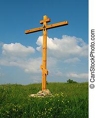 cruz, encima de, el, colina, en, ocaso