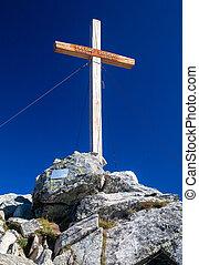 cruz, encima de, el, colina, solisko, eslovaquia