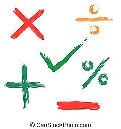 cruz, garrapata, negativo, positivo, icono